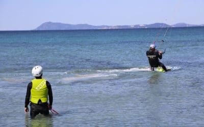 Premières glisses en kitesurf